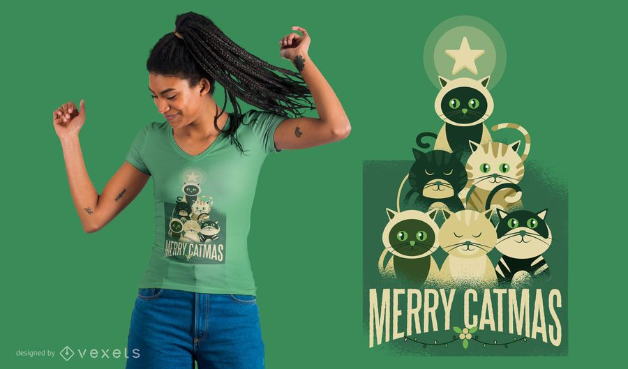 Merry Catmas T-Shirt Design