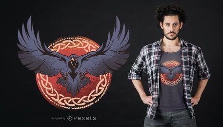 Diseño de camiseta de cuervo oscuro