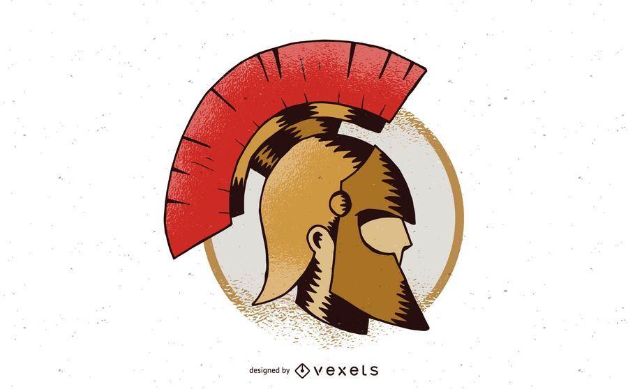Design de distintivo de capacete espartano