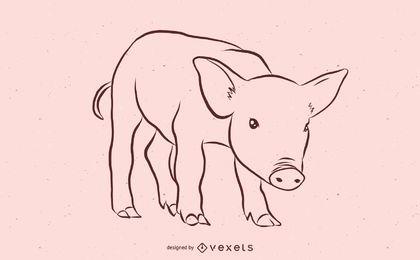 Desenho de esboço de porco