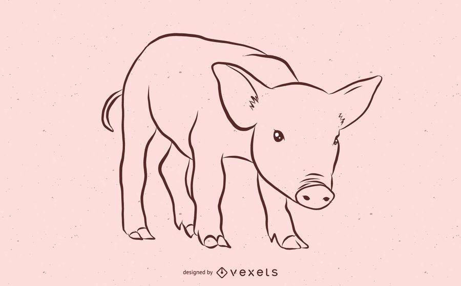 Diseño de boceto de cerdo