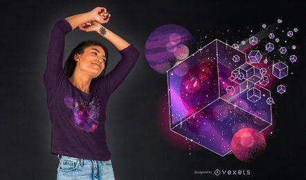Projeto do t-shirt do cubo da galáxia