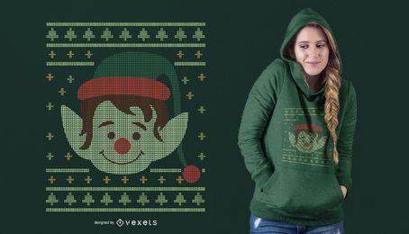 Projeto feio do t-shirt do duende do Natal