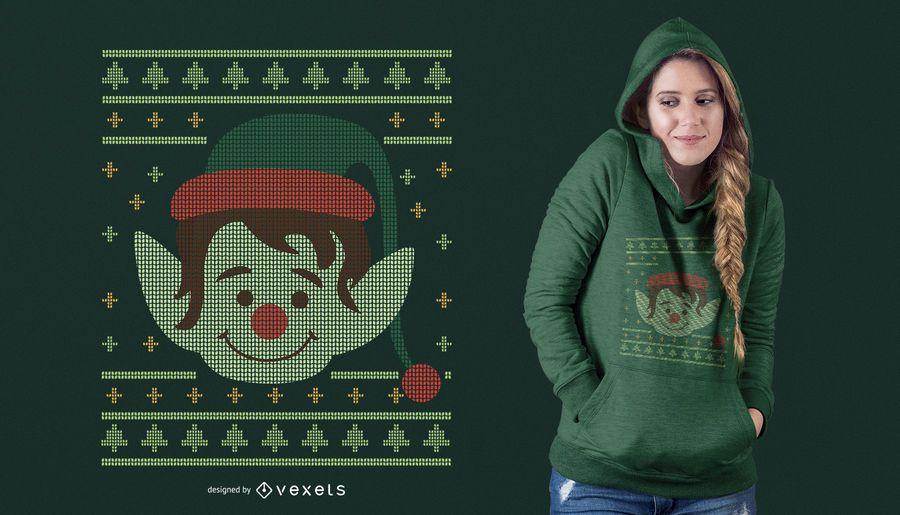 Ugly Christmas Elf T-Shirt Design