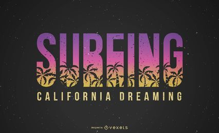 Surfing California Dreaming Lettering