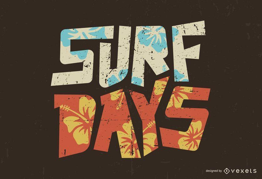 Design de rotulação de dias de surf