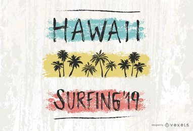 Diseño de letras Hawaii Surfing '19