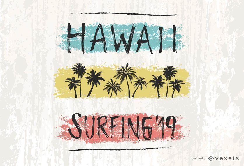 Design de rotulação do Hawaii Surfing '19