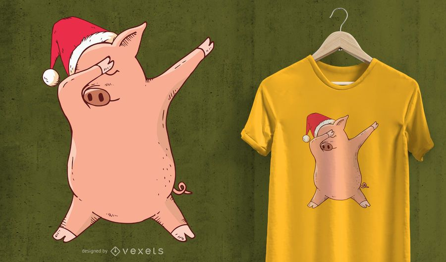 Christmas Dabbing Pig T-Shirt Design