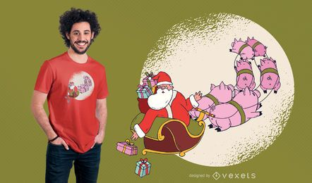 Design do t-shirt do trenó do porco de Santa