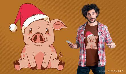 Diseño de camiseta de cerdo de navidad