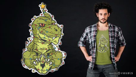 Christmas Dinosaur T-Shirt Design