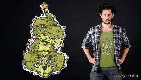 Diseño de camiseta dinosaurio navideño
