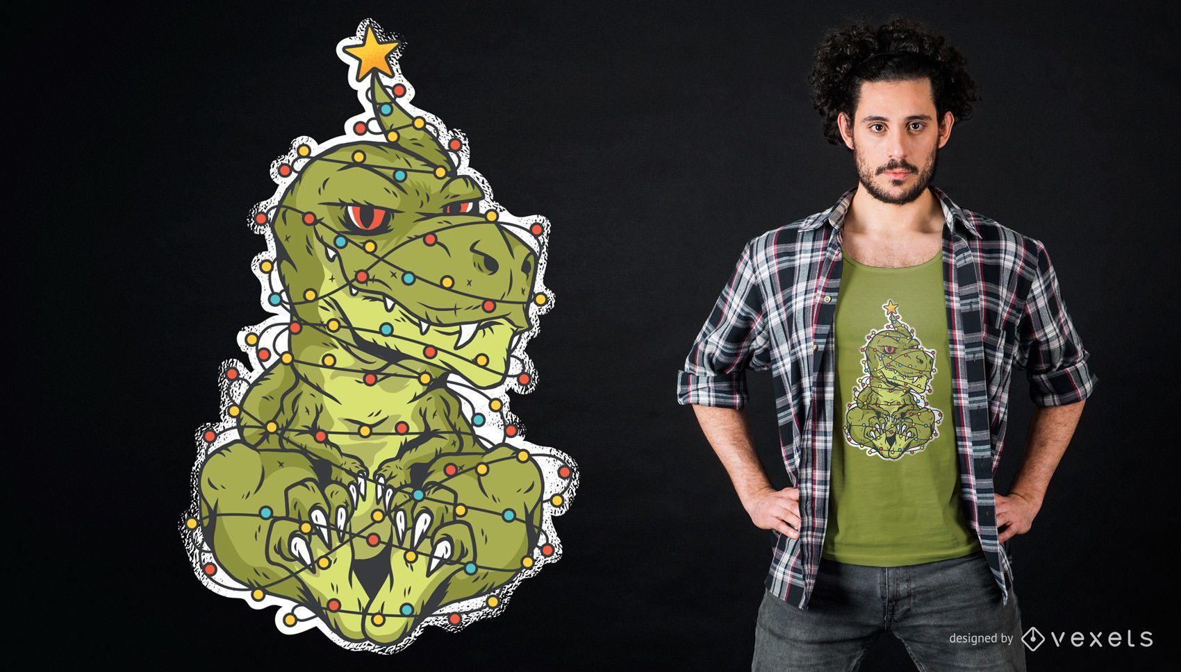 Dise?o de camiseta de dinosaurio navide?o