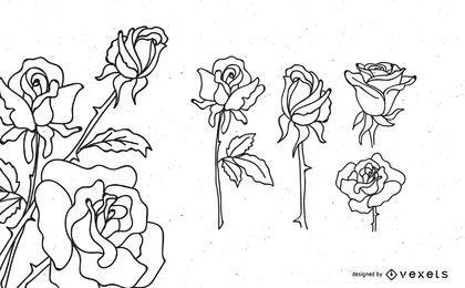 Rose-Gliederungs-Design-Set