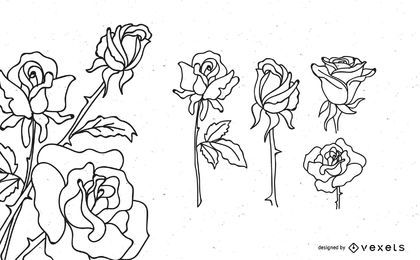 Rose Outline Design Set