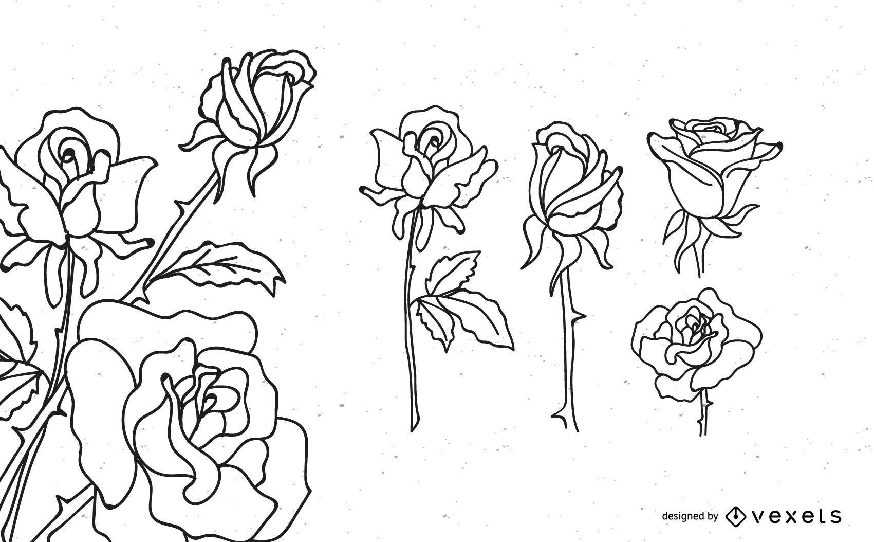 Rose Outline Design Set - Vector Download