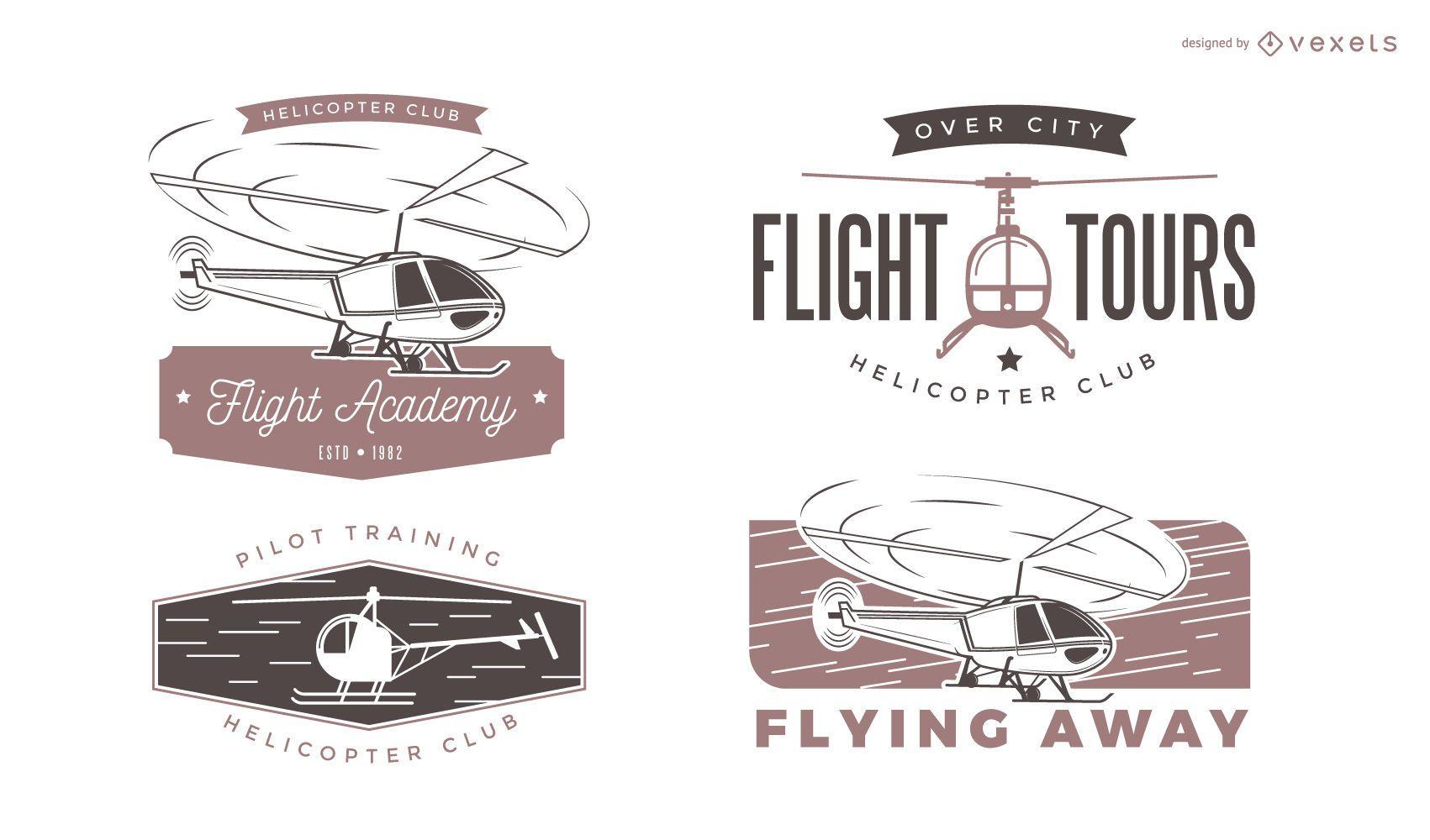 Diseños de etiquetas de helicópteros