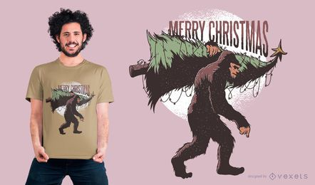 Projeto do t-shirt de Bigfoot do Natal