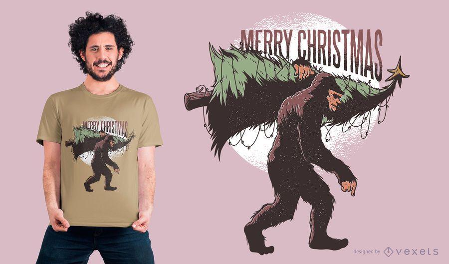 Diseño de camiseta de Navidad Bigfoot