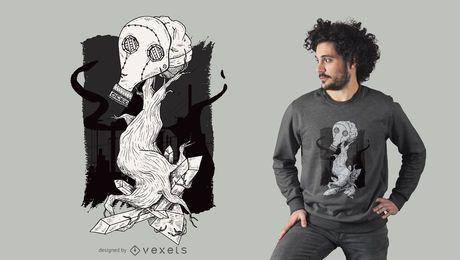 Diseño de la camiseta del árbol de la máscara de gas