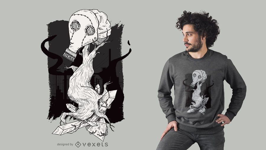 Projeto do t-shirt da árvore da máscara de gás