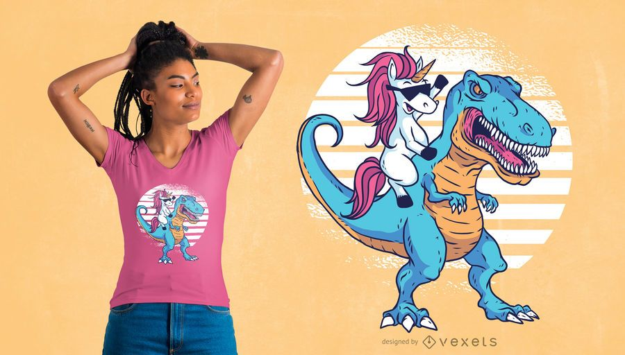 Unicorn T-Rex T-Shirt Design
