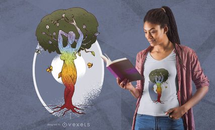 Projeto do t-shirt da mulher da árvore