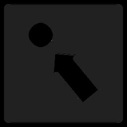 Seta apontando um ícone quadrado de círculo