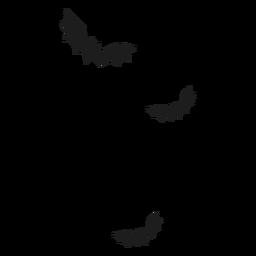 Morcegos em silhueta de vôo