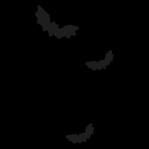 Murciélagos en silueta de vuelo