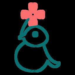 Pássaro com ícone de estilo de linha de flor