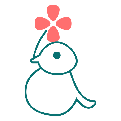 Bird with flower line style icon Transparent PNG
