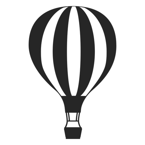 Black and white air balloon silhouette Transparent PNG