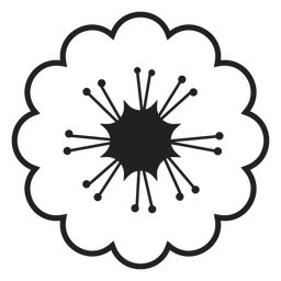 Black and white cherry blossoms icon
