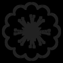 Icono de flores de cerezo blanco y negro