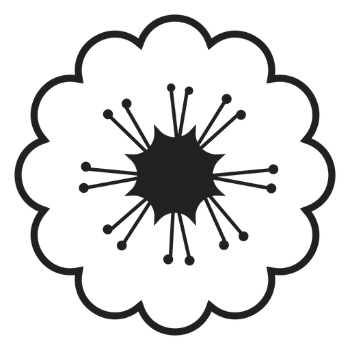 Black and white cherry blossoms icon Transparent PNG