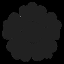 Ícone de flor de pétala de cinco preto e branco