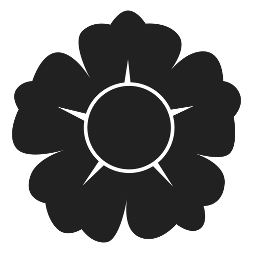 Black and white five petal flower icon Transparent PNG