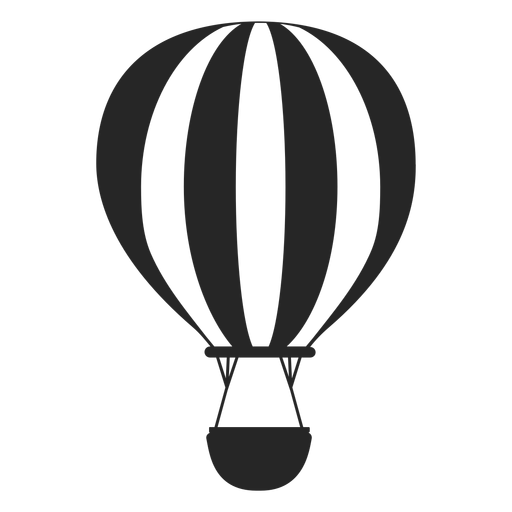 Black and white hot air balloon silhouette Transparent PNG
