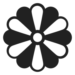 Black and white petal flower icon