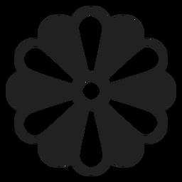 Icono de flor de pétalo blanco y negro