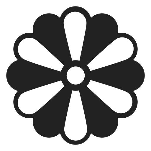 Black and white petal flower icon Transparent PNG