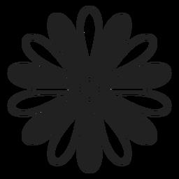 Icono de margarita negro y blanco