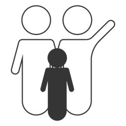 Black and white family line icon