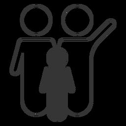 Icono de línea familiar blanco y negro
