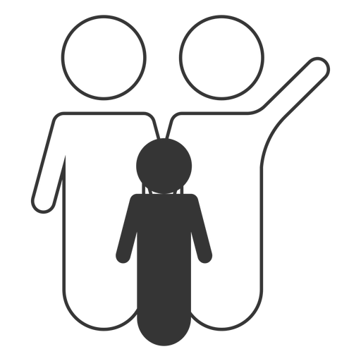 Black and white family line icon Transparent PNG