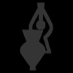 Ícone de ponta de caneta-tinteiro preto e branco