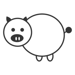 Black and white pig line style icon