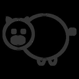 Icono de estilo de línea de cerdo blanco y negro